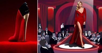 Моделот Karlie Kloss во секси црвен фустан во кампањата на Carolina Herrera!
